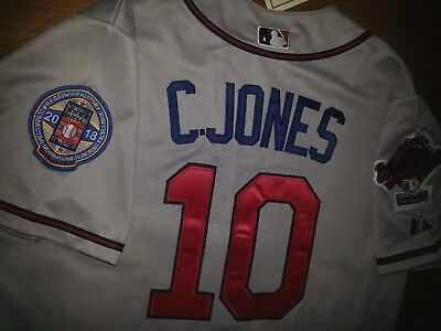 03c1b1dd0 Brand New! Atlanta Braves  10 Chipper Jones Throwback 2patches Sewn Gray  Jersey • 58.93