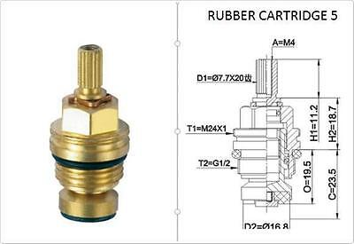 £4.95 • Buy Replacement Brass 7.7mm X 20 Rubber Tap Cartridge Valves Rc5 Gland Insert - Each