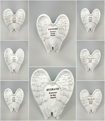 Memorial White & Silver Angel Wings Stone Plaques Funeral Cemetery Graveside  • 5.99£