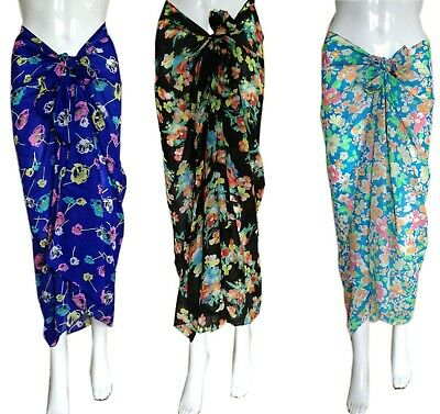 £3.99 • Buy Fabulous VINTAGE STYLE Floral SARONG Skirt / Dress Wrap Swimwear Beach Cover-Up
