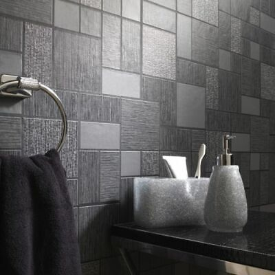 £13.99 • Buy Black & Grey With Glitter Tile Wallpaper Kitchen And Bathroom Tiling On A Roll