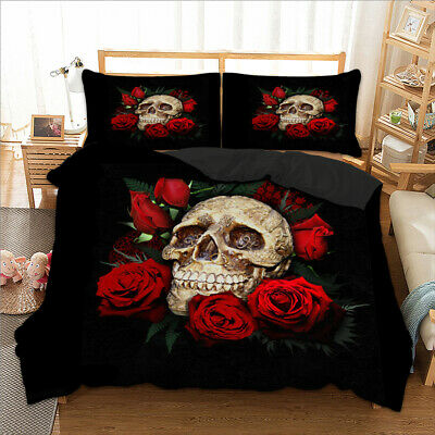 3D Skull Rose Duvet Cover With Pillow Cases Quilt Cover Bedding Set All Sizes • 28.99£