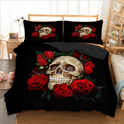 3D Skull Rose Duvet Cover With Pillow Cases Quilt Cover Bedding Set All Sizes • 24.99£