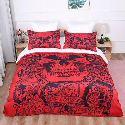 Red Skull Gothic Duvet Cover Quilt Cover Bedding Set With Pillow Cases All Sizes • 25.99£