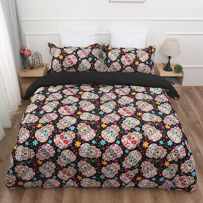 £23.99 • Buy Sugar Skull Duvet Cover With Pillow Cases Bedding Set Single Double King Sizes