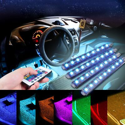 $9.93 • Buy 4PCS LED RGB Lamp Home Room Atmosphere Neon Strip Light Remote Control Under Car