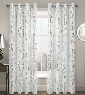 £7.25 • Buy Swirl Ripple Effect Voile Curtain Eyelet Panel White Gold Silver Voile Net Panel