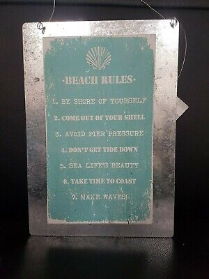 Lovely Rustic BEACH RULES Wooden / Metal Distressed Wall Plaque / Sign Green • 5.49£