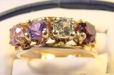 £120.35 • Buy Vintage Acrostic 4 Stone 10 K Yellow Gold Mothers Sz 7 Dinner Ring