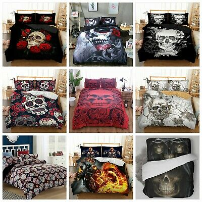 UK Hot Skull Design Duvet Cover With Pillow Cases Gothic Quilt Cover Bedding Set • 24.99£