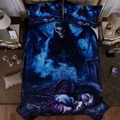 Duvet Cover Skull Gothic Bedding Set Single Double King Sizes With Pillow Cases • 25.99£
