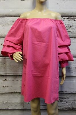 9d3eccee2d38 Bleuh Ciel 2079 Women L Dress Pink Tunic Tiered Bishop Sleeves  Off-Shoulders • 24.70