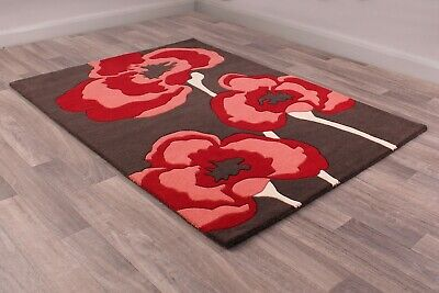 Ultimate Poppie Red Black Wool Luxurious Floral Poppy Rug In Various Sizes • 39.95£