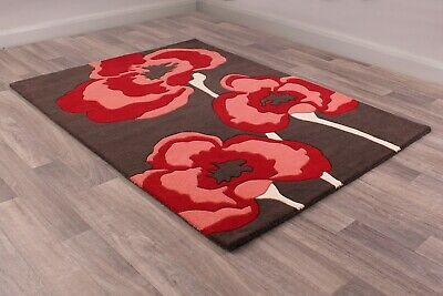 £39.95 • Buy Ultimate Poppie Red  Wool Luxurious Floral Poppy Rug In Various Sizes