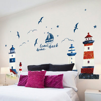 New Nautical Boat Seagull Lighthouse PVC Wall Sticker Decals Home Art Decoration • 6.27£