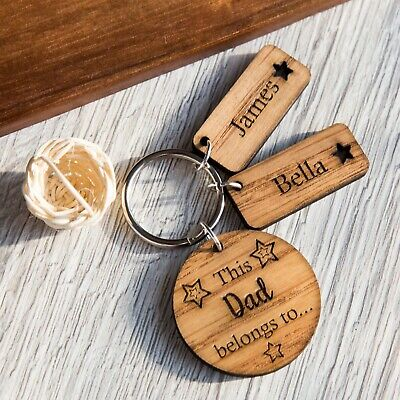 Personalised 'This Daddy Belongs To' Wooden Keyring, Father's Day Grandads Gifts • 6.49£