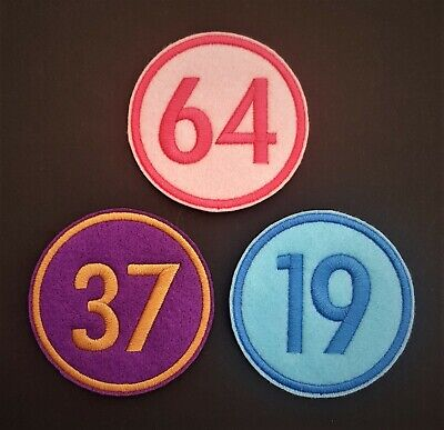 Personalised Number Name Embroidered Patch, Badge Standard Round Iron On Sew On • 3.25£