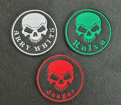 Personalised Embroidered Skull Name Patch Badge Banner Iron On Sew On • 3.95£