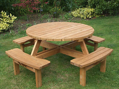 8 Seater Commercial Pub Style Round Picnic Table • 219£