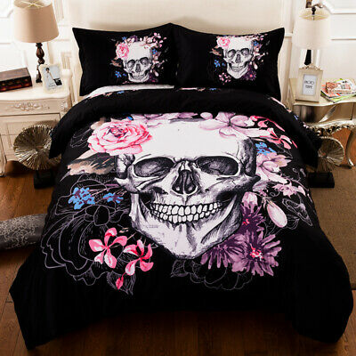 Skull Flower Duvet Cover Pillow Cases Quilt Cover Bedding Set Single Double King • 24.99£