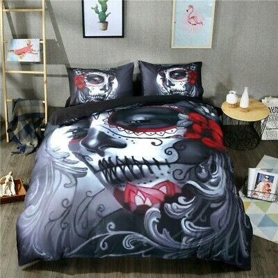 Gothic Skull Tattoo Duvet Cover Quilt Cover Bedding Set With Pillow Cases • 23.99£