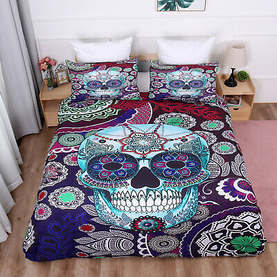 Gothic Skull Duvet Cover Bedding Set With Pillow Cases Single Double King Sizes • 24.99£