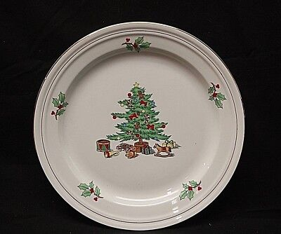 $19.99 • Buy Holiday Hostess By Tienshan 10-5/8  Dinner Plate Christmas Tree W Gold Bands