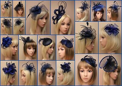Navy Blue Fascinator Hatinator Wedding Prom Clip Comb Band, Feather, Lot • 15.35£