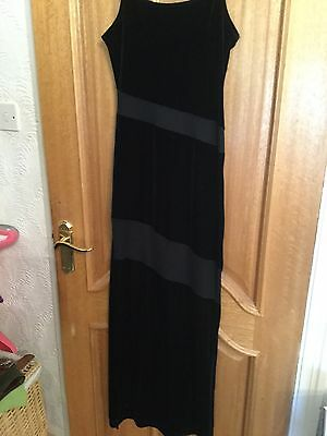 £5 • Buy Long Black Dress With Mesh Panels And Side Split Size M/l