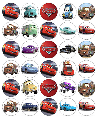 30x Disney Cars Lightning Mcqueen Cupcake Toppers Edible Wafer Fairy Cake Topper • 1.69£
