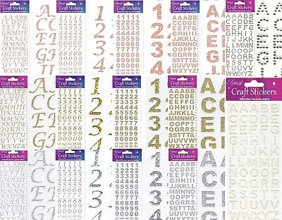 £1.95 • Buy Self Adhesive Glitter Diamante Letters Number Alphabet Stickers Gold Rose Silver
