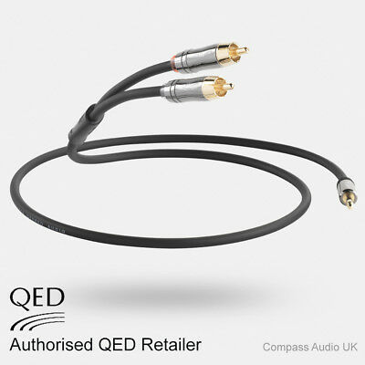 QED Performance Graphite J2P 3.5mm Mini Jack To 2 RCA Stereo Audio Cable 1.5m • 24.95£