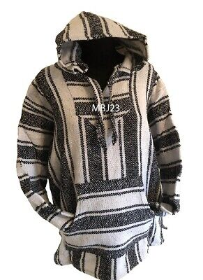 Hoodie Mexican Baja Jerga Drug Rug Jumper Festival Surf Hippie White Colour  • 19.99£