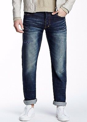 NWT PRPS GOODS & CO Sz30 BARRACUDA STRAIGHT JEANS DISTRESSED RIP & REP BLUE • 133.12£