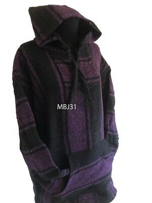 Hoodie Mexican Baja Jerga Drug Rug Jumper Festival Surf Hippie Purple Colours • 19.99£
