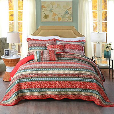 £87.70 • Buy Unimall Cotton Quilted Super King Size Bedspread Comforter Patchwork Quilt Bed