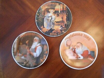$ CDN26.65 • Buy Norman Rockwell Lot Of 3 Christmas Santa Plates 1979 1984 & 1985
