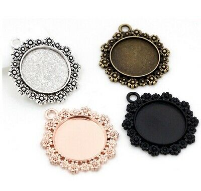 Round Cabochon Cameo Settings Charm Craft 35x32mm Tray For 20mm Jewellery Making • 1.45£