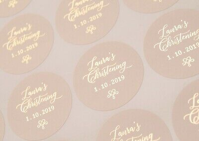 £7 • Buy Foil Christening Stickers - Baptism Or First Holy Communion - Personalised