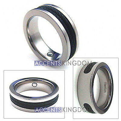 $33.99 • Buy Accents Kingdom 8mm Men's Titanium Magnetic Double Cable Ring Band