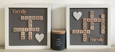 (a) Scrabble Art Picture Frame Personalised - Grey Background • 26£