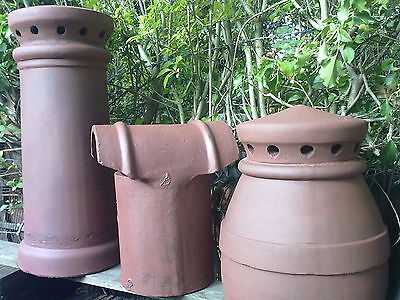 CHIMNEY POTS X 2 (RED) + 2 X Pepper Pots (RED) + 1 X Hooded Cowl (RED)  All Clay • 198£