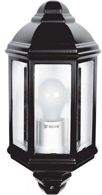 LED Black IP44 Lighting Outdoor Garden Wall Mounted Half Lantern Light Aluminium • 16.94£