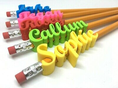 Personalised Pencil Toppers Script Style - Choice Of Colours +free Pencil • 2.85£