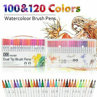 $37.52 • Buy 120 Color Dual Tip Brush Pen Watercolor Drawing Painting Sketch Manga Marker USA