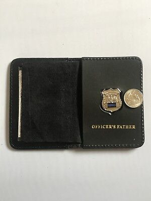 Police Officer Thin Blue Line  Mini PIN   Leather ID Wallet - (Father) 1 INCH • 17.98£
