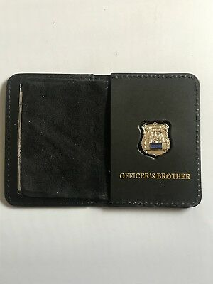 Police Officer Thin Blue Line Mini PIN  1inch   Leather ID Wallet - (Brother) • 17.19£