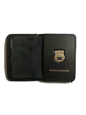 Police Officer Thin Blue Line Mini PIN 1INCH Leather ID Wallet (Family Member • 17.58£