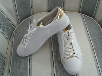 20cbb4f114a4 Michael Kors Irving JetSet Lace Up Leather White Gold Sneaker 9M Shoes Women  NEW • 59.99