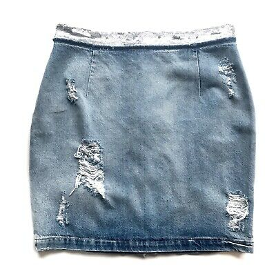 $ CDN86.01 • Buy IRO Jeans Sequin Embellished Denim Pencil Skirt In Blue Sz 8/40 MSRP $246